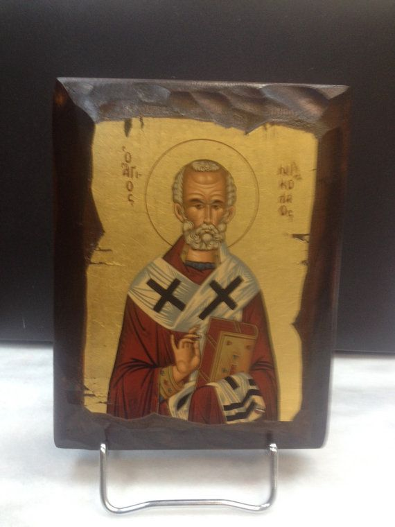 Saint Nicolas. Hand made in Hellas-Greece Dimensions: 5,51 x 7,08 inches / 14 x 18 cm