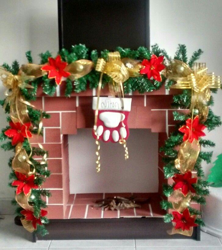 Navidad, chimenea falsa, rojo y dorado, DIY, manualidades.