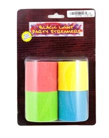 Black light party streamers available at Spencer's $7.99