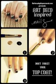 Nail Care TechniquesNails Art, Gold Nails, Fall Nails, Nails Design, Nails Polish, Black Gold, Art Deco Nails, Art Nails, Nails Tutorials
