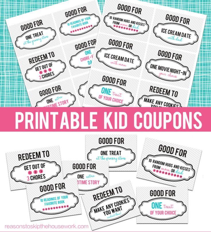 Printable Kid Coupons - Reasons To Skip The Housework