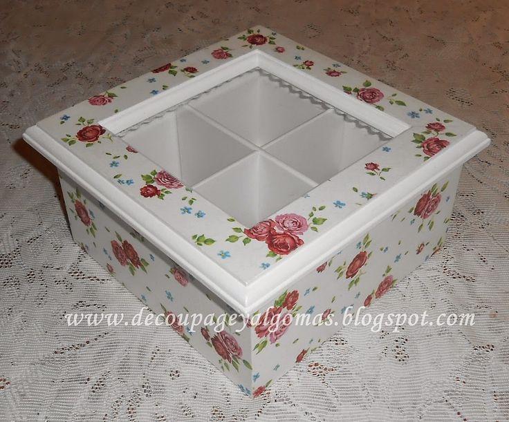 Decoupage, y algo más...: Caja de té de 4 divisiones con decoupage