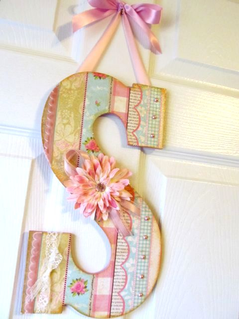 Mod Podge Monday: Large Wall Letters A letter for each of my Grandkids in the playroom would be too cute (: