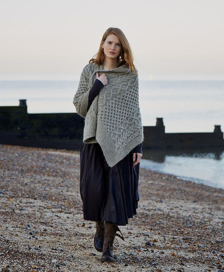 Hygge - 'Thyme Wrap' is a lovely traditional cable aran wrap from Windswept.