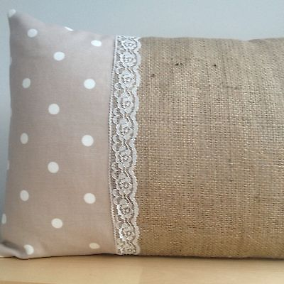 """Dotty Fabric Natural Hessian Lace Vintage Oblong Scatter Cushion Cover 11""""x17"""" 