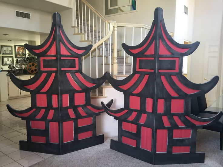 Magalie Sarnataro's props. Asian pagodas 7ft : foam board cutout, paint, red paper glued on the back... Will be outlined with LED lights Asian themed party