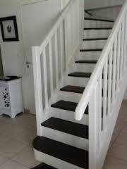 """Résultat de recherche d'images pour """"escalier vernis repeint en blanc et bois"""""""