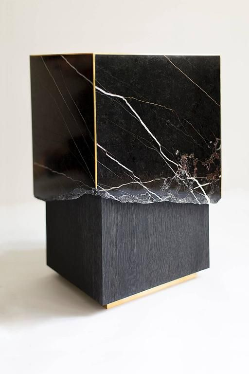 Meta End Table in Black Marble, Dyed Solid White Oak with Brass Details 4