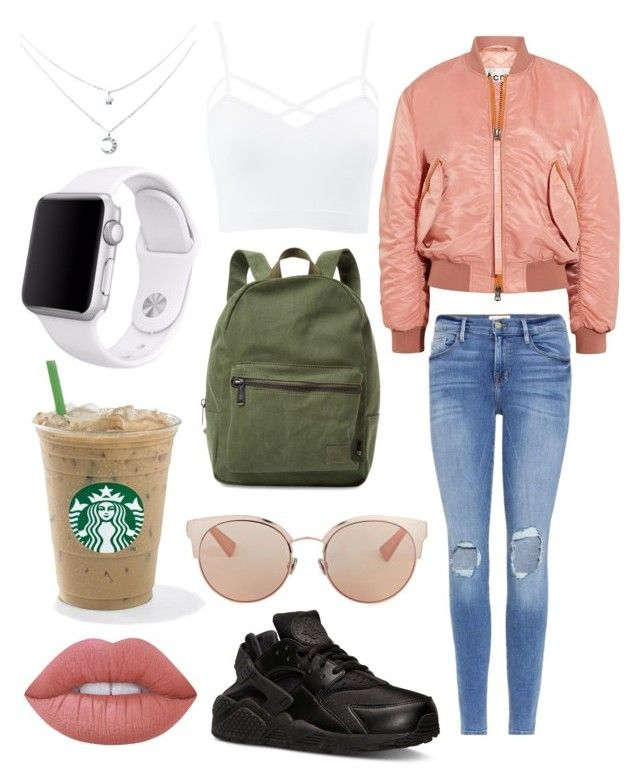 """Bomber jacket"" by otterspace ❤ liked on Polyvore featuring Charlotte Russe, Acne Studios, Frame, Herschel Supply Co., NIKE, Christian Dior, Apple, Lime Crime, Pink and jeans"