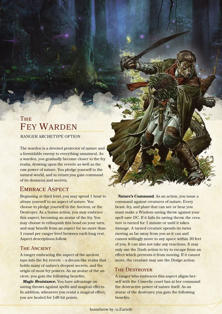 DnD 5e Homebrew — Fey Warden Ranger by Zarieth