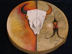 Navajo Ceremonial Painted Hand Drum ~Buffalo Skull~