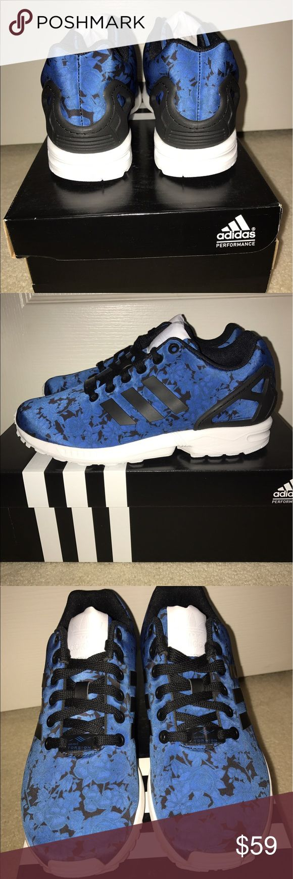 NIB Adidas ZX Flux Blue Floral Women's Size 6 New In Box Adidas ZX Flux Floral Women's Size 6. Navy blue, black, white. adidas Shoes Sneakers