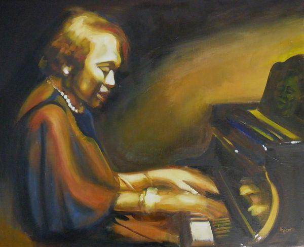 "Kaytee Esser's painting ""Kansas City Jazz"" -- women of jazz"