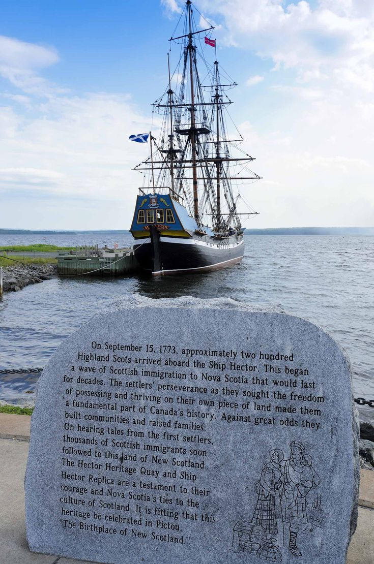 Hector, the brig which carried 178 Scottish immigrants to the Pictou area of northern Nova Scotia in 1773.