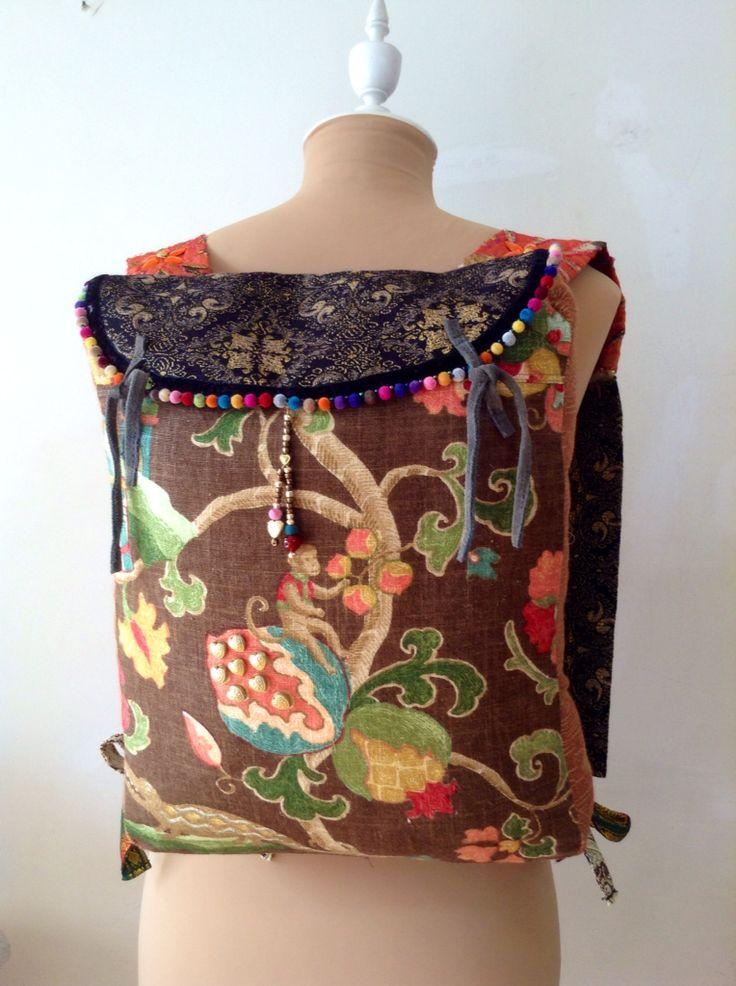 Mochila de tela,lino y brocado de algodón y seda