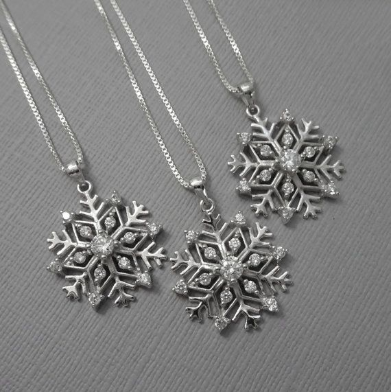 Snowflake Necklace, Winter Necklace, Christmas Necklace, Christmas Gift, Elsa Necklace, Frozen Necklace, Bridesmaid Necklace, Gift for Her