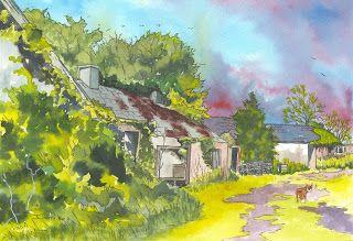The Art of Phil Davis: Derelict farmyard