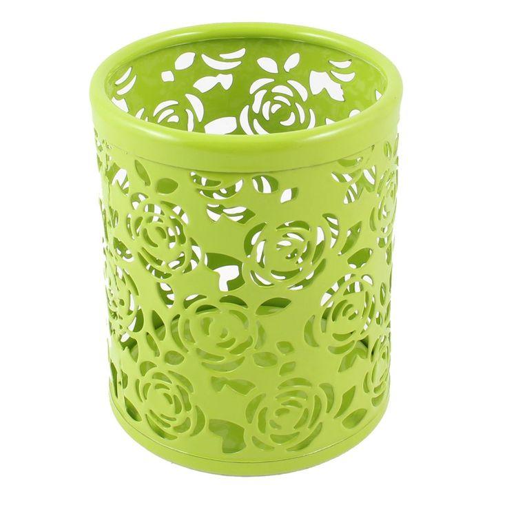 SOSW-Metal Cylinder Handwork Flower Pen Pencil Eraser Holder Light Green