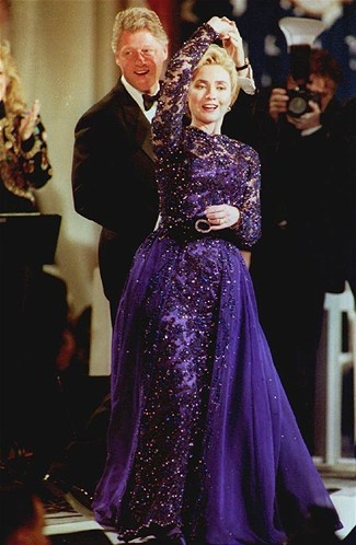 First ladies' fashion~Hillary Clinton. Married to Bill Clinton, in office 1993-2001.