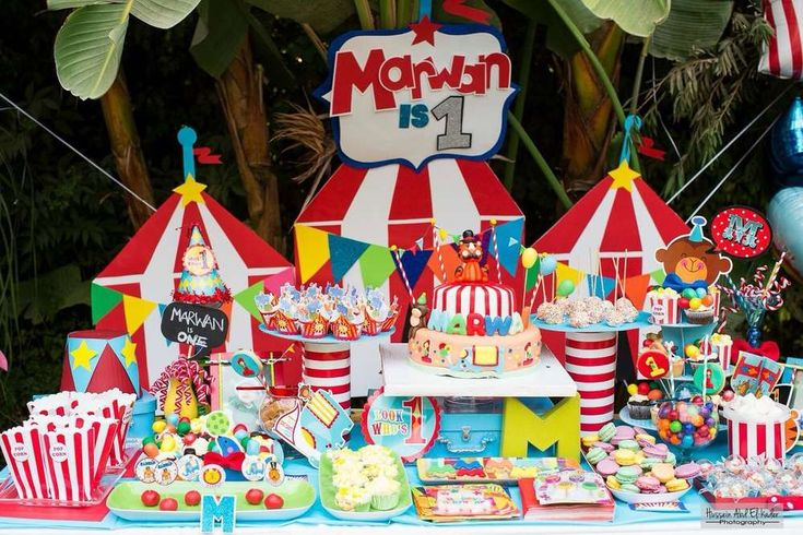 Amazing Circus birthday party dessert table!  See more party planning ideas at CatchMyParty.com!