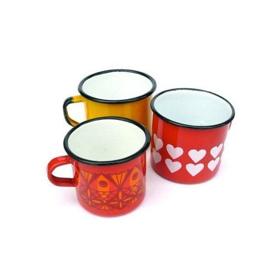 Three vintage enamel mugs  From FoundVintageStyle