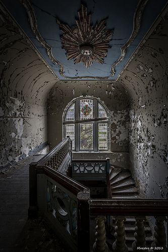 Mansion in Oppurg, Germany. Used in the 19th century as a children's home. During the WWII, it was used as a rest home for the elderly, and during this period the mansion got its beautiful decoration. After the war, the state of the mansion was already deteriorating, but still the beauty attracted several new owners until nobody was interested anymore...