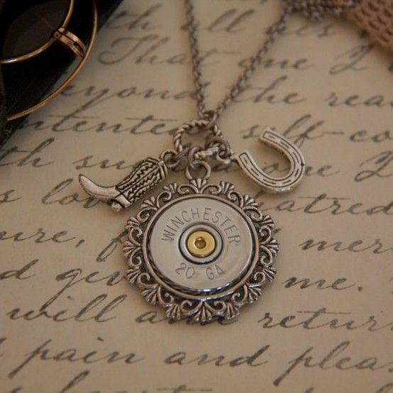 Cute shotgun shell necklace.... (wheels turning) bingo can totally make this