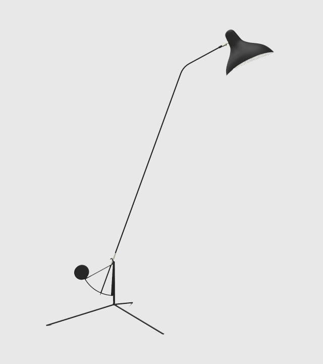 Mantis gulvlampe ble designet av kunstneren og ingeniøren Bernard Schottlander i 1951. Dette er en iøynefallende gulvlampe og den skulpturelle formen er støttet opp av funksjonaliteten. Lampen er laget i Frankriket i pulverlakker stål. Bestillingsvare. Leveringstid 4-6 uker