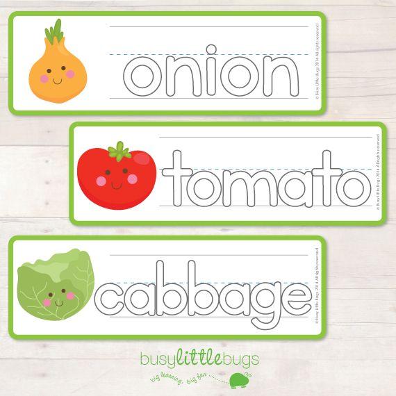Vegetable Vocab Write & Wipe Cards
