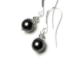 Crystal Black Swarovski Pearl And Black Diamond Swarovski Crystal Silver Earrings, Black Pearl Earring, Pearl Jewelry, Romantic Gift For Her