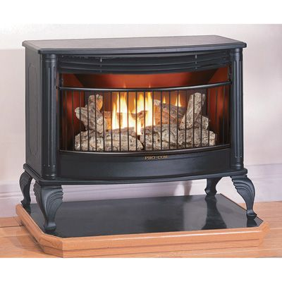 Vent-less gas fireplace that could be installed in a motorhome for ambience and heat. From Northern Tool