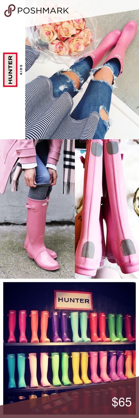 {HUNTER BOOTS | KIDS} Tall Pink Boots . {Hunter Boots | Kids} Pre-loved  Size 3UK ::: Photos of actual boots for sale ::: Made in Scotland ::: Puddle splash in quality and style ::: Hunter™ boots are made by hand using 28 individual parts and a fine attention to detail. Made of vulcanized natural rubber. Knee-high fit insures that no moisture gets in. Comfort cushioned footbed. Reflective safety patches. Woven nylon lining. Heel Height: 1 in Weight: 1 lb 2.4 oz Circumference: 13 1⁄4 in…