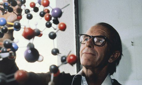 Frederick Sanger and a DNA model. He referred to proteins as the machinery of living matter. Photograph: Bettmann/Corbis