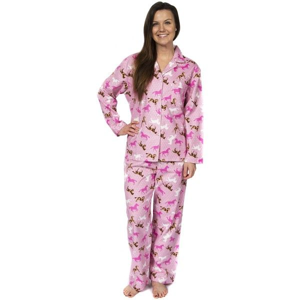 Leisureland Women's Horse Print Flannel Pajamas ($36) ❤ liked on Polyvore featuring intimates, sleepwear, pajamas, flannel pjs, flannel pyjamas, pink pajamas, pink pjs and button up pjs