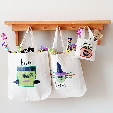 "<p>Here's a fun and easy way to customize your trick-or-treating gear! Iron your favorite <a href=""http://www.parents.com/holiday/halloween/"" >Halloween</a> images onto plain canvas tote bags; use some of our Halloween pictures, or find ones of your own! Type a name on your image and print it out onto iron-on transfer paper. Finally, iron on the image to the bag"