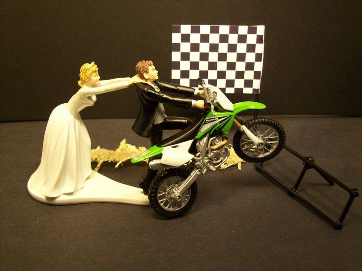 Motorcycle Kawasaki Green Dirt Bike Start Pole Bride and Groom Funny Wedding Cake Topper. $72.99, via Etsy.