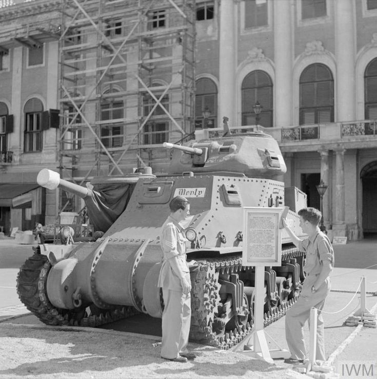 field marshal montgomerys grant tank on display outside the schonbrunn palace british forces headquarters in