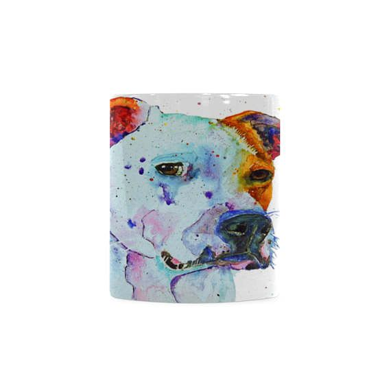 Bull terrier mug desk accessories for men. Unique dog coffee