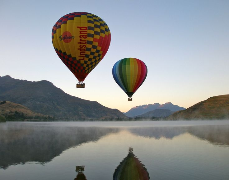 Sunrise Balloons rise above Queenstown, New Zealand—better known to many #LOTR fans as Middle-earth.