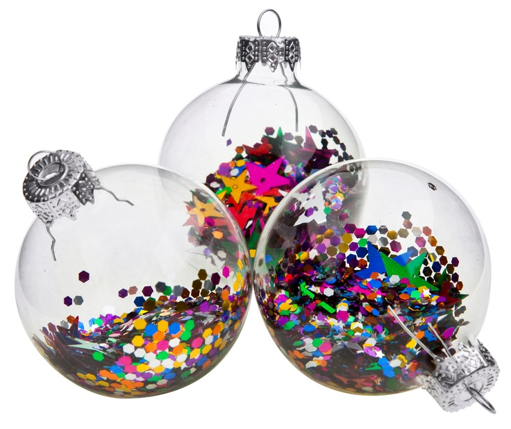 Bright glass christmas baubles with sequins