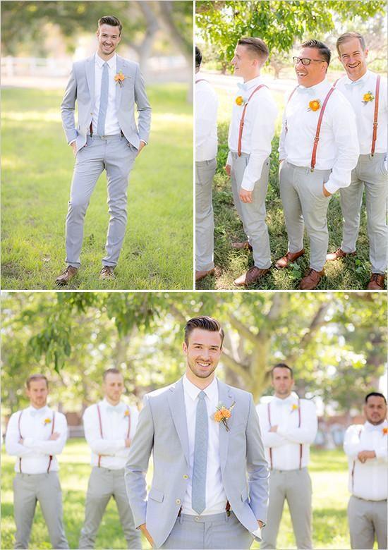 Light grey and suspenders groomsmen look