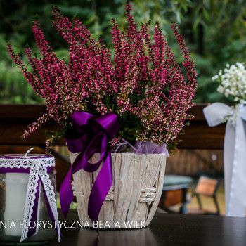 wrzos - dekoracja sali weselnej świece