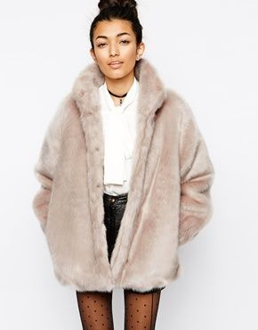 ASOS Faux Fur Coat with Funnel Neck