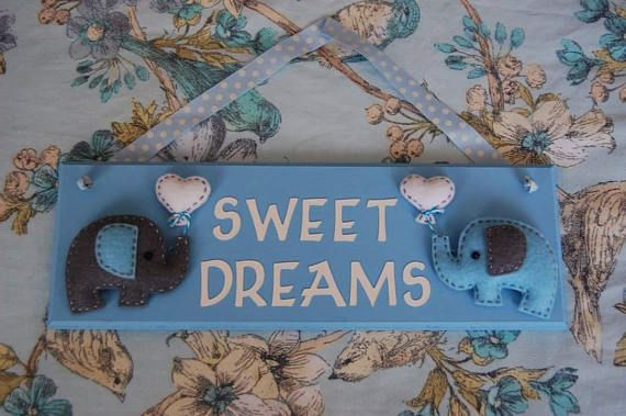Elephant Nursery Sign 'Sweet Dreams' sign Blue and