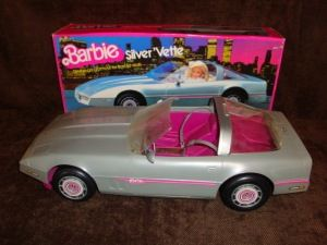 Barbie Doll 1980's grey corvette car