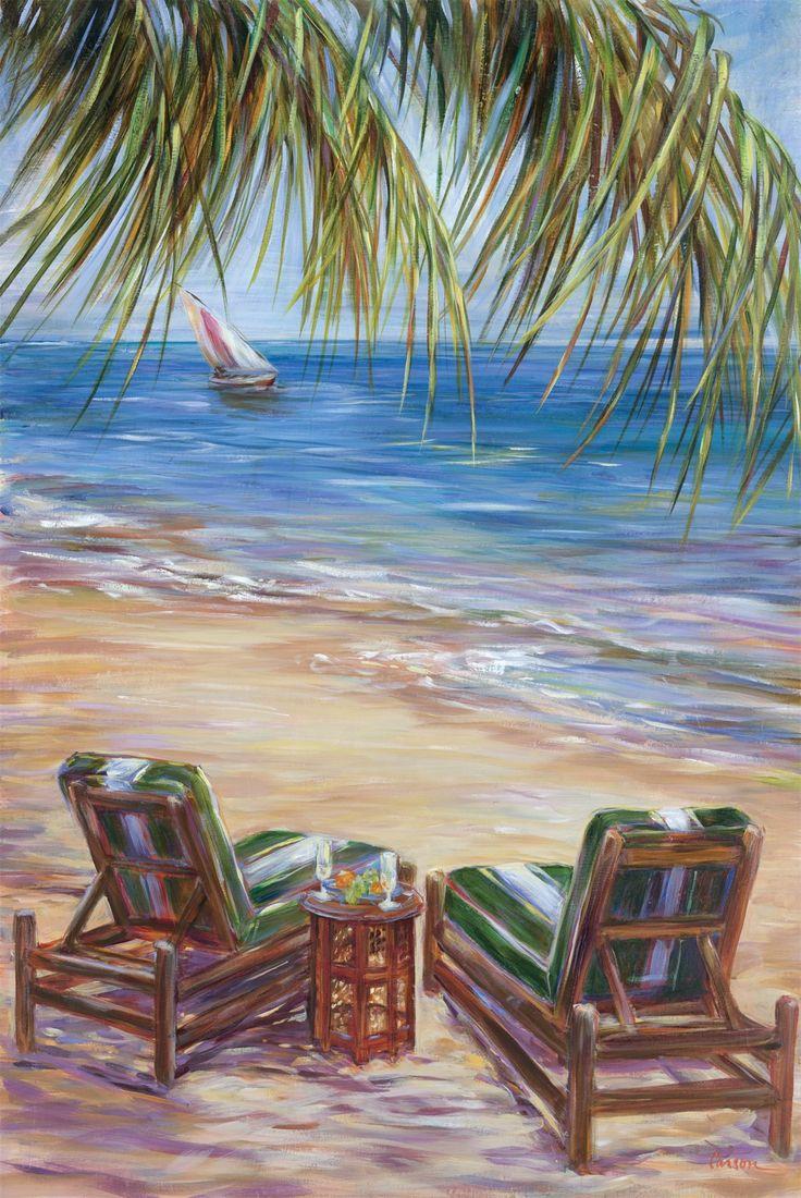 Beach chairs on the beach painting - Life S A Beach