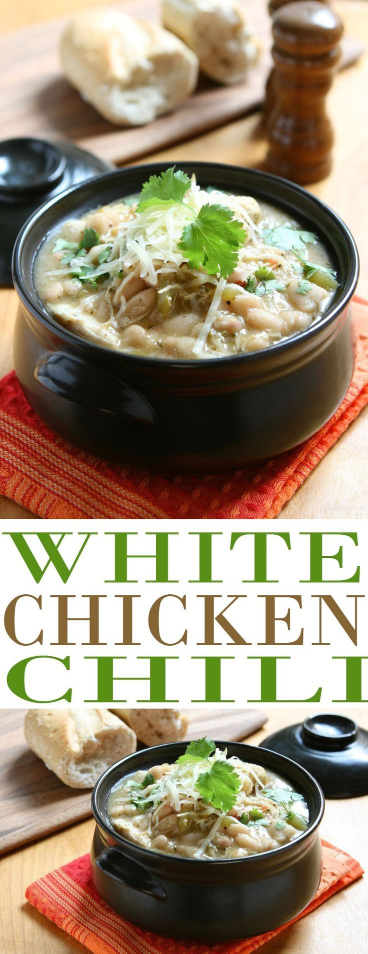 White Chicken Chili recipe is one of the best fall soup recipes (and chili recipes) we have. This flavorful white bean and chicken chili is so hearty. It is also the perfect way to use up Thanksgiving turkey leftovers. Substitute turkey for chicken and ma