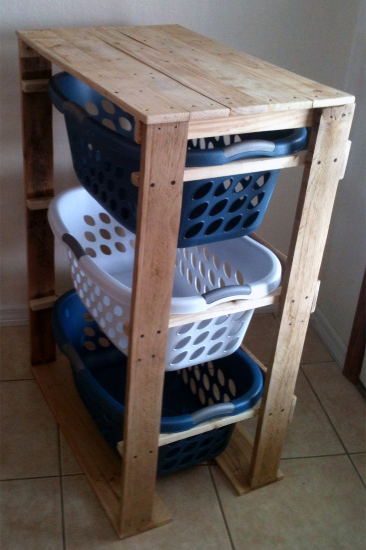 Pallirondack Laundry Basket Dresser made with #pallets #pallet