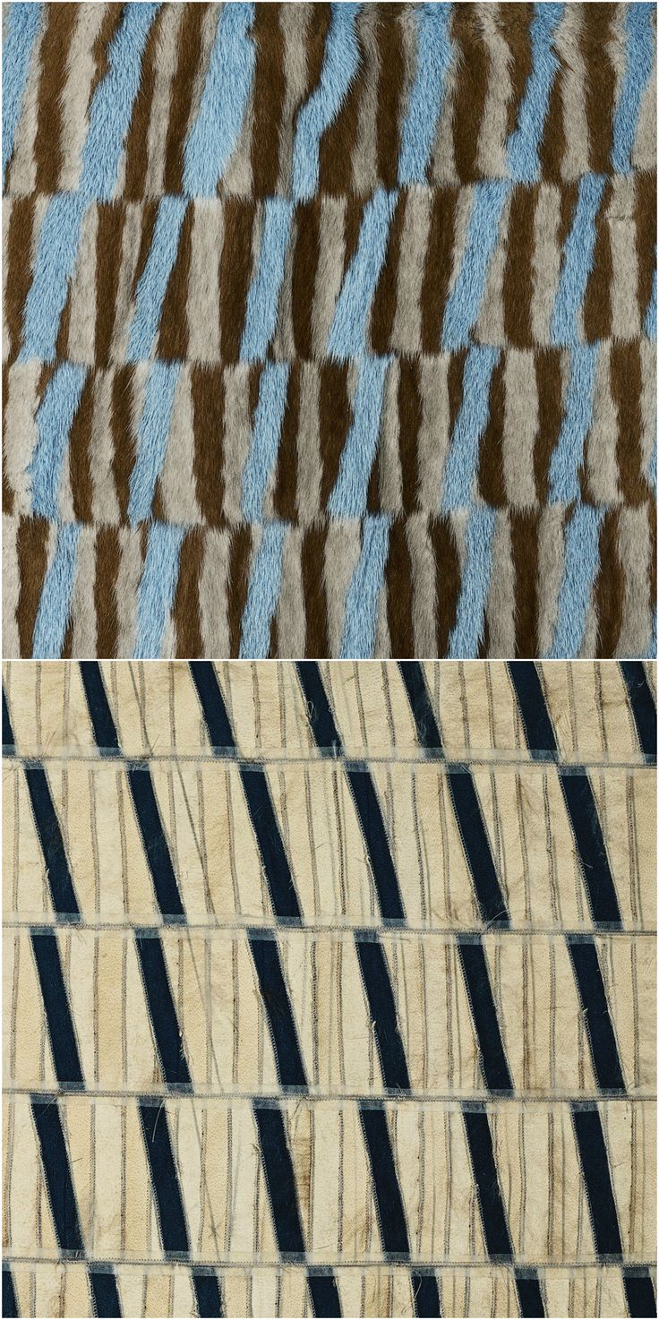 Brown and grey stripes of 1cm sewn together, diagonally strips of 1cm added in diagonally lines. Finally cut horizontally in a distance of 5cm, slide conversely 1cm and sewn together on furmaschine.