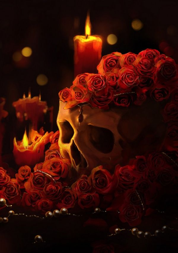 skull decorated with roses - in remembrance